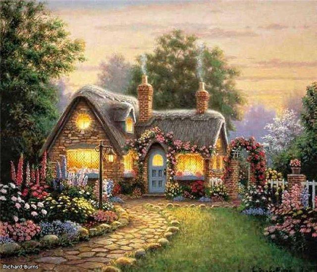 домик, пейзаж, коттедж