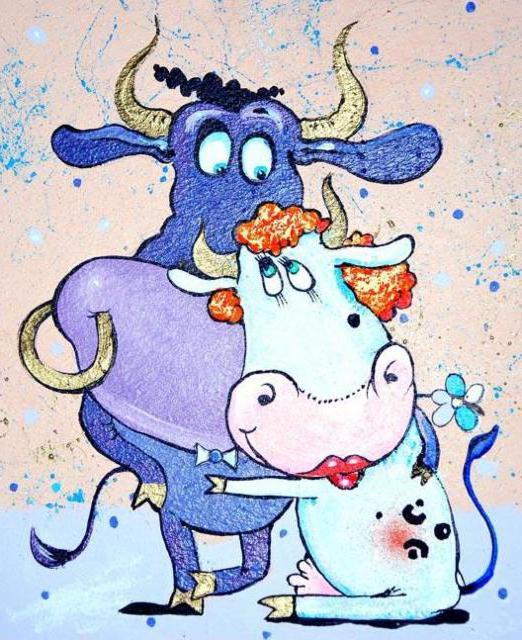 Корова+бык, анимация, животные