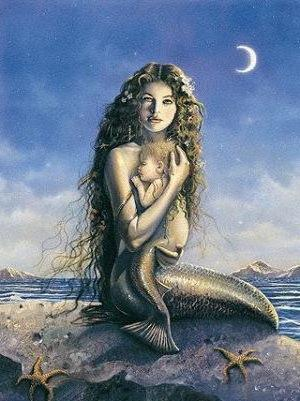 Mermaid with Child, море, фентези