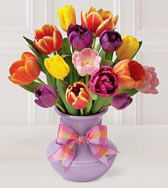 Bouquet of Tulips, цветы, ваза