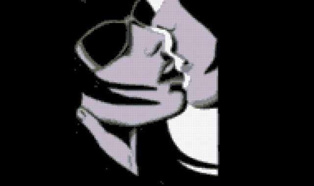 Черно-белый поцелуй, пара,