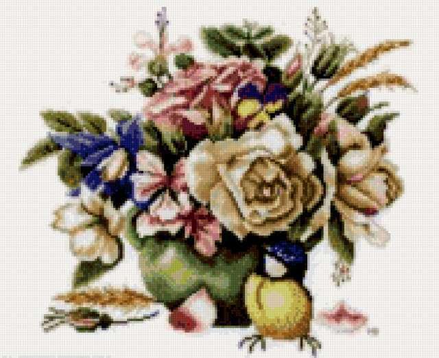 Розы и синица, предпросмотр