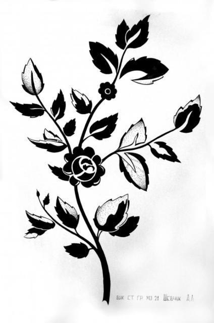 Роза. силуэт, оригинал