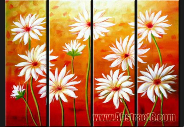 4 Canvases Abstract, цветы, природа