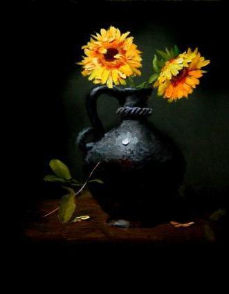 Two Sunflowers in a Vase, цветы, ваза