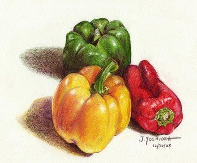 Peppers (Pencil Drawing), овощи
