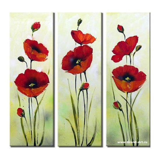 Маки(триптих), цветы, маки