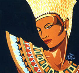 Art Deco - Nefertiti, женщина, живопис, абстракт