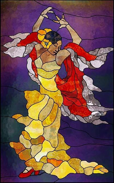 Art Nouveau - Flamenco Dancer, женщина, живопис, абстракт