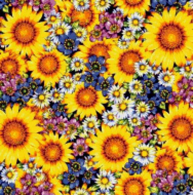 Ковер из цветов, подушка,