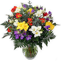 Bouquet with Freesias, цветы, ваза