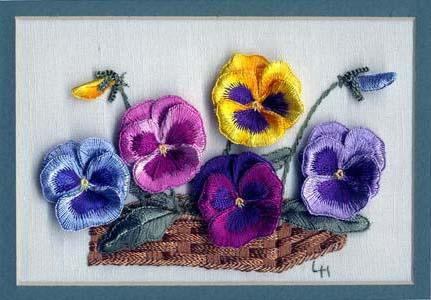 Pansies in Basket, цветы