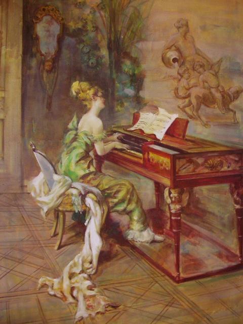 Вышивка крестом за роялем