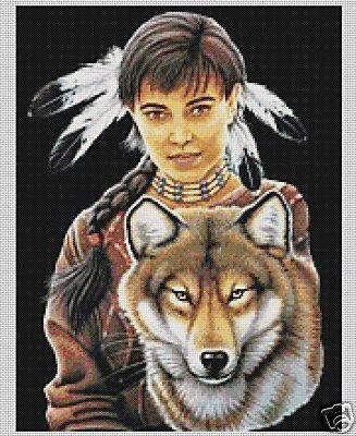 Girl with Wolf, животны, женщина, девушка