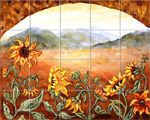 Sunflower Field and Window, цветы