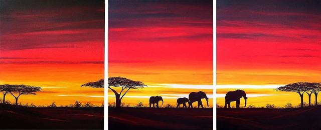 Africa Sunset Triptych, африка