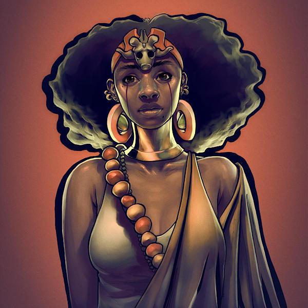 рисунок, африканка