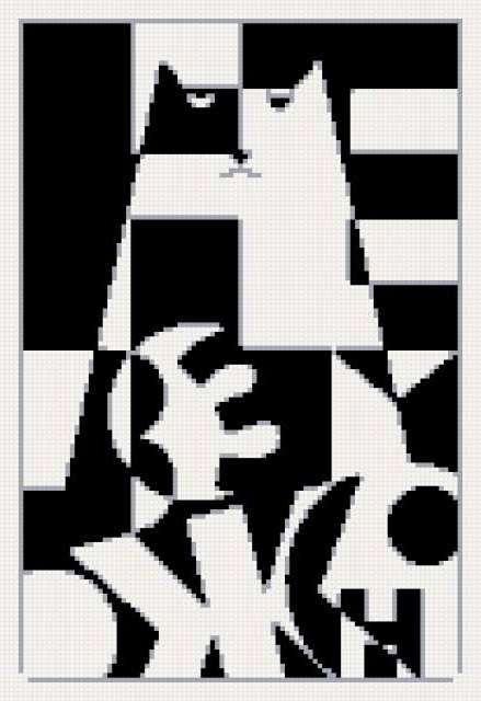 Схема вышивки черное и белое кот