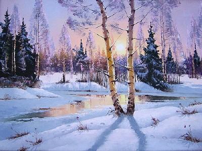 Зимнее утро, природа, зима,