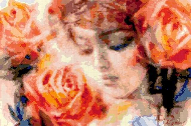 Девушка с розами, портрет,