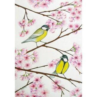 Sakura Tree with Birds, птици
