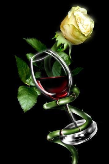 Бокал вина и роза, бокал