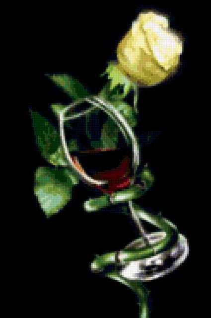 Бокал вина и роза,