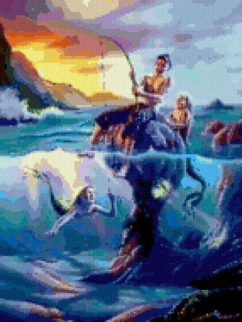 Русалки и рыбак, предпросмотр