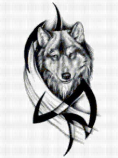 Волк, тату, волк, монохром
