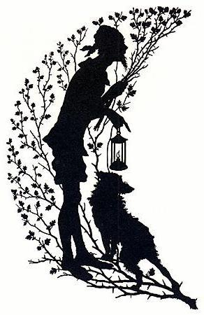 Silhouette Man with Dog, люди
