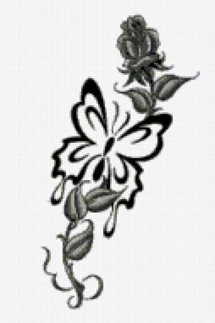Бабочка и роза, тату, монохром