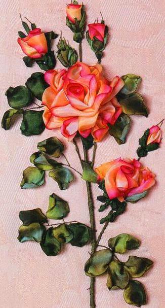 Роза из лент, роза, цветы