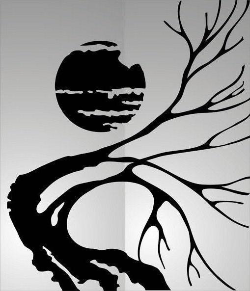 Сухое дерево, монохром