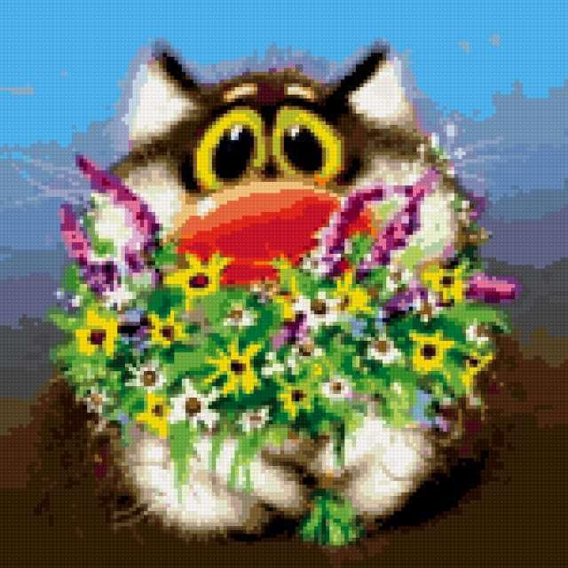 Кот с цветами, предпросмотр