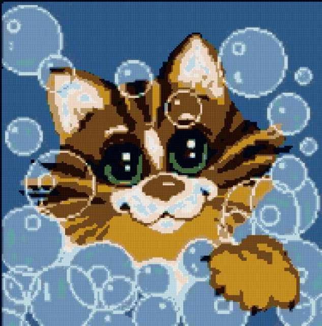 Подушка кот в пузырях,