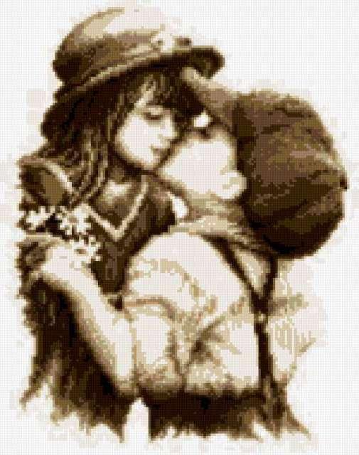 Первый поцелуй, монохром, дети