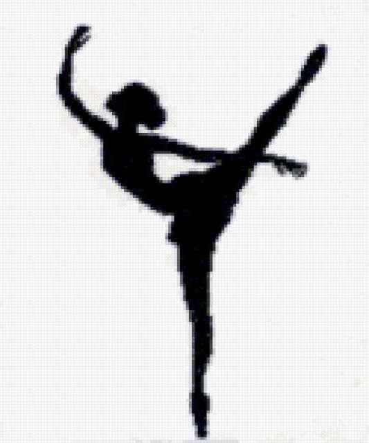 Балерина, силуэт, черное и