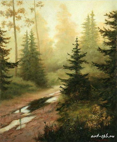 Лесной пейзаж, пейзаж, природа