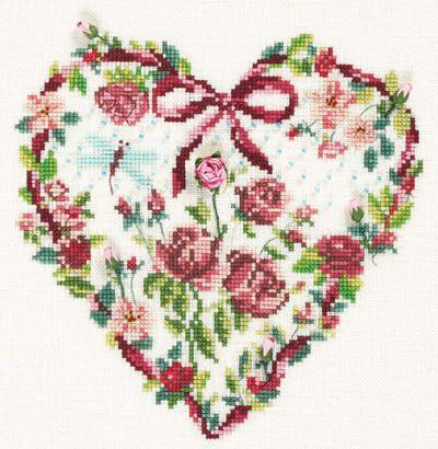 Сердце из цветов, цветы,