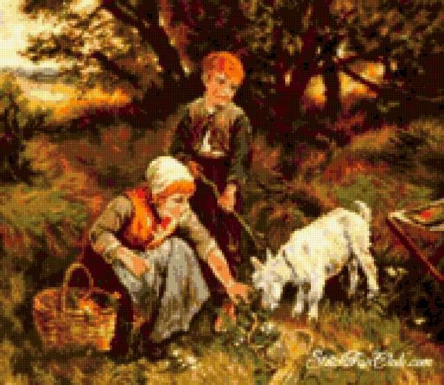 Дети и козлик, предпросмотр
