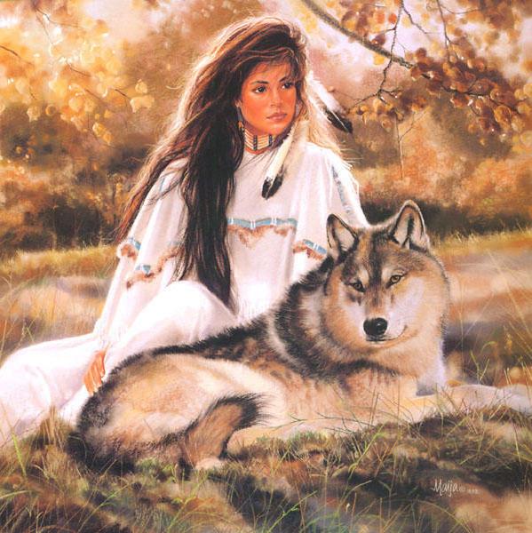 Схема вышивки «Девушка и волк