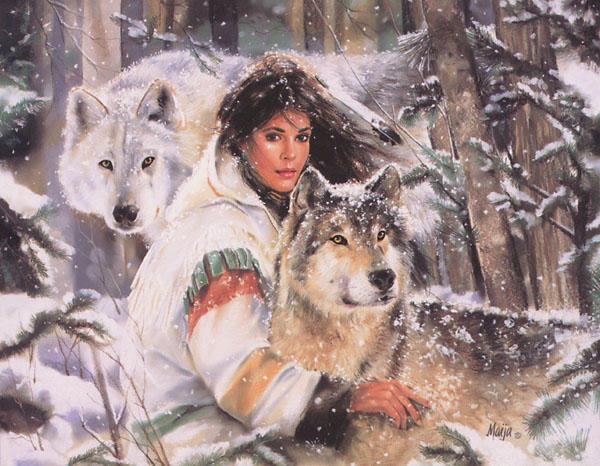 Схема вышивки «Девушка и волки