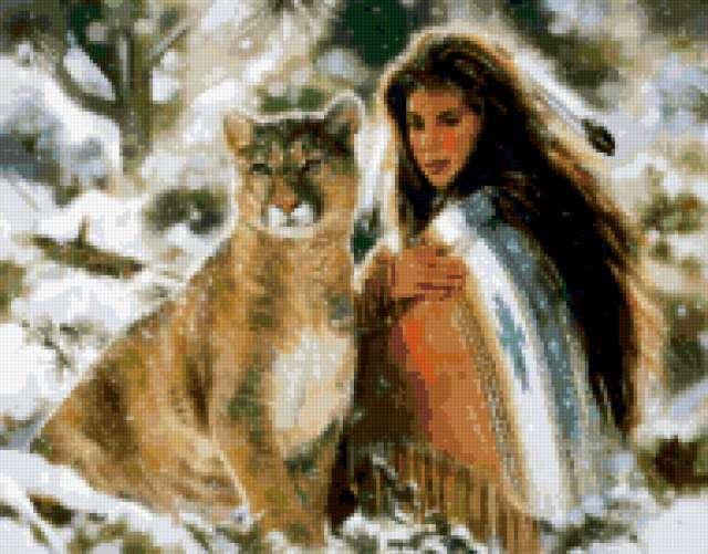 Девушка и львица, предпросмотр