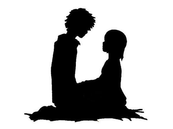 Мальчик и девочка, силуэт,
