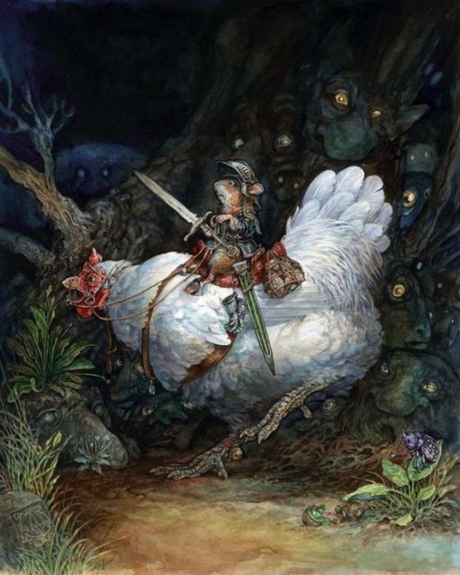 Храбрый мышонок на курице,