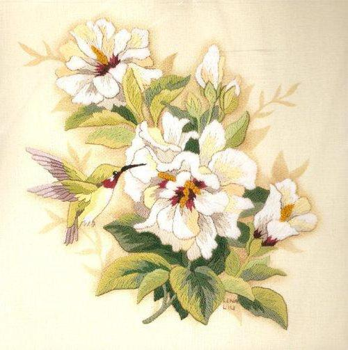 Колибри и гибискус, цветы,