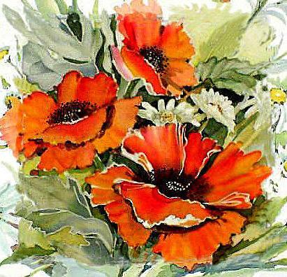 Подушка 36 Маки, цветы, маки,