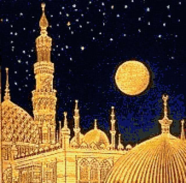 Ночь, восток, менарет, ислам