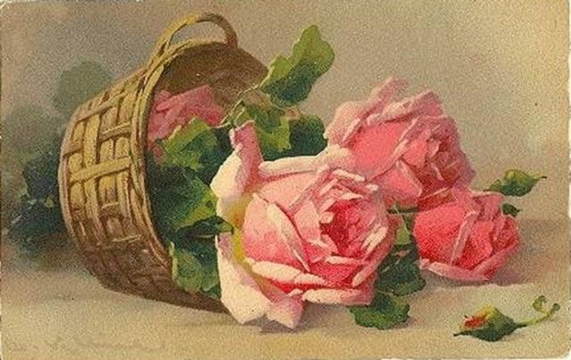 Розы в корзинке, цветы, букет,