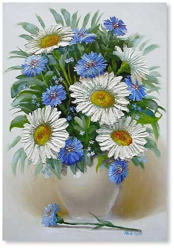 Вышивка букета цветов